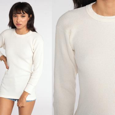 Off-White Thermal Shirt Long Johns Long Sleeve Shirt WAFFLE KNIT Shirt 80s Under Shirt T Shirt Underwear Retro Tee Vintage Medium by ShopExile