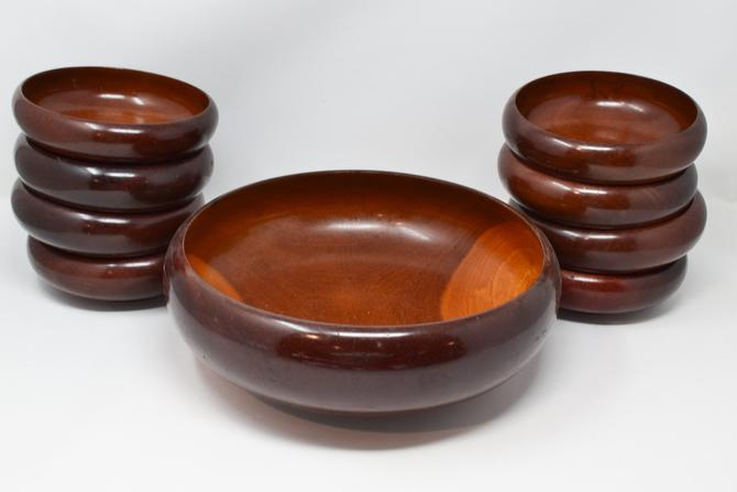 Mid Century Wooden Salad Bowl Set by CapitolVintageCharm