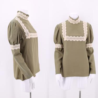 70s SF SHIRT WORKS sage rayon puff sleeve blouse M/  vintage 1970s San Francisco Victorian prairie blouse top by ritualvintage