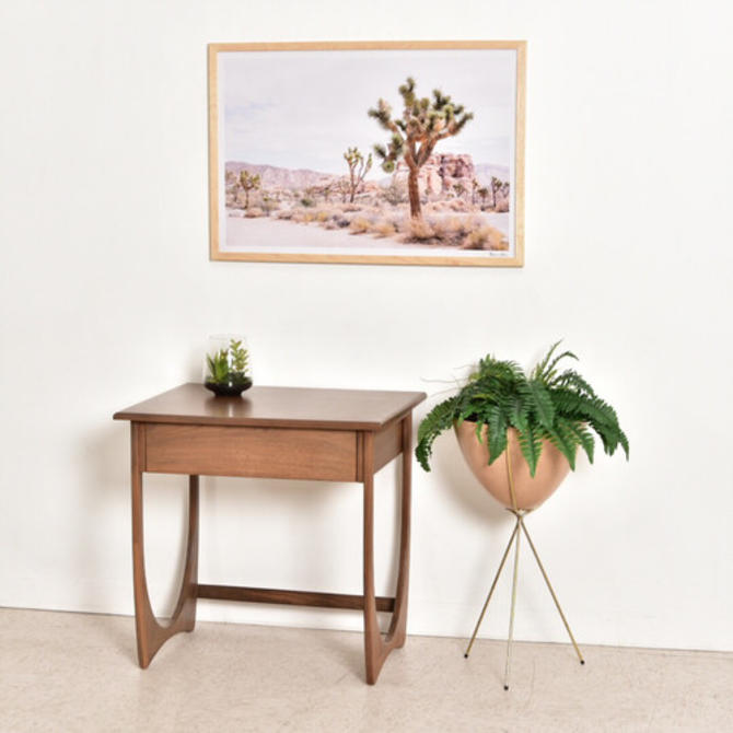 Tall Walnut End Table with Drawer