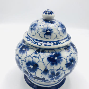 """Vintage Blue & White Porcelain Ginger  Jar with hand painted floral design- 7"""" tall by JoAnntiques"""