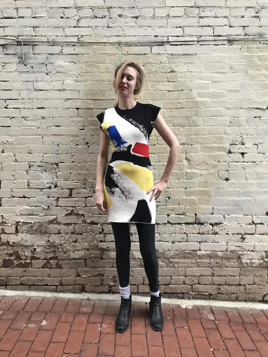 CELINE Primary Color Brush Effect Bodycon Knit Mini Dress by SHOPTREASURY