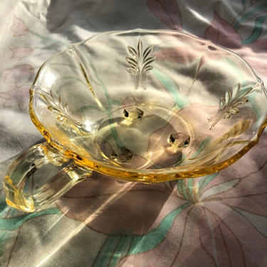 Vintage Glass Bowl, Yellow Depression Glass Footed Candy Bowl with Handle, Scalloped Edged and Diamond Leaf Motif by AMORVINTAGESHOP