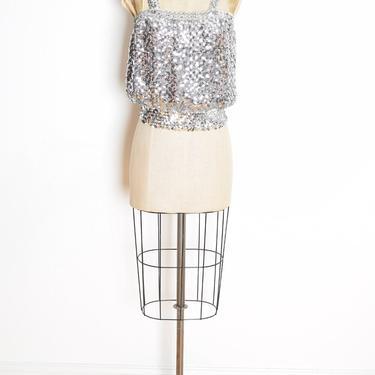 vintage 70s crop top metallic sequin disco tank top shirt blouse sparkly clothing M L by huncamuncavintage