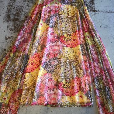 Amazing 1960s\/70s Sheer Full Length Angel Sleeve Dress