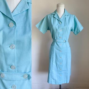 Vintage 1960s Blue Waitress / Nurse Uniform Dress / M by MsTips