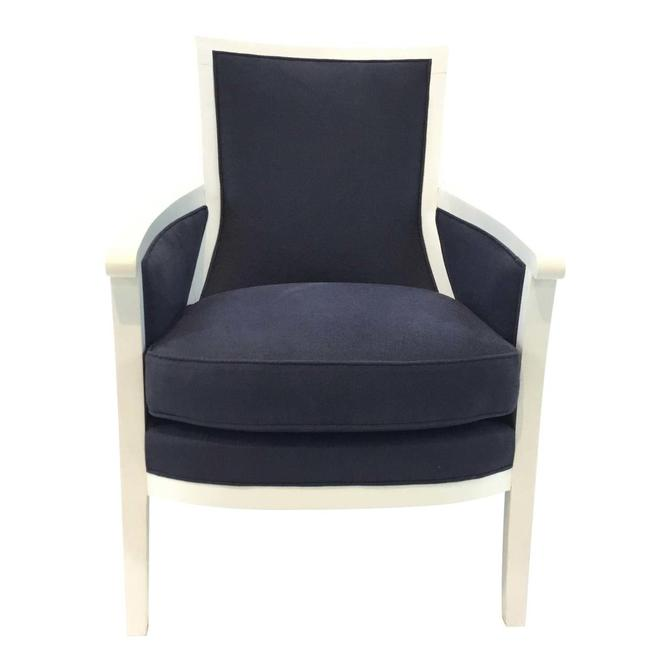 Transitional Navy and White Hickory Chair Breck Chair