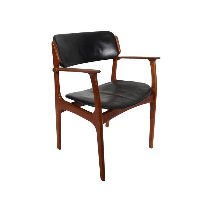 Teak Arm Chair Erik Buck Danish Modern OD Mobler Dining Chair Black  Leather by HearthsideHome
