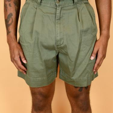 Vintage Green Pleated Dockers Military Hiking Dad Shorts (Medium 30 31 32) by MAWSUPPLY