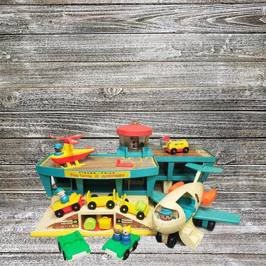 Vintage Fisher Price 1972 Play Family Airport, #996, Fun Jet, Helicopter, Fuel Tank, Luggage Car, Suitcases, People & Cars, Vintage Toys by AGoGoVintage