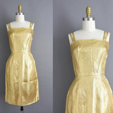 vintage 1950s   Gorgeous Gold Lame Winter Holiday Cocktail Party Wiggle Dress   XS Small   50s dress by simplicityisbliss