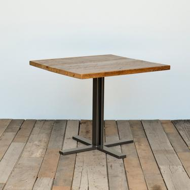 """small wood table with hand welded square steel pedestal base in choice of size and finish. 4 Prong Welded Steel Base Overall height 30"""" by UrbanWoodGoods"""