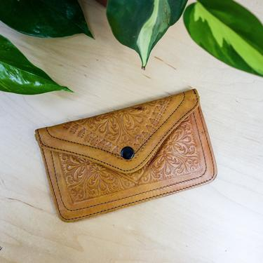 """Vintage handmade tooled leather 2 pocket pouch 8"""" small purse or wallet in soft tan leather with snap & zipper, cell phone, coin, makeup bag by forestfathers"""