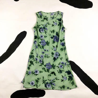 90s Green and Blue Floral Mini Dress / Tank Dress / Skater Dress / A Line / Sage Green / Grunge / Purple / Delias / Small / Medium / y2k by shoptrashdotnet