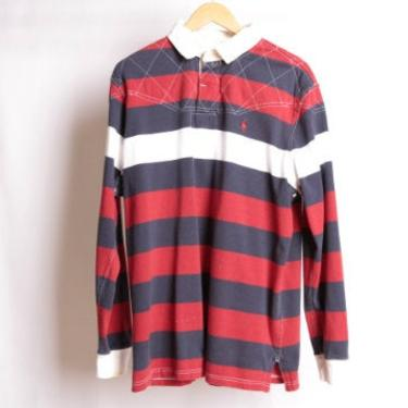 vintage 1990s POLO long sleeve RUGBY style RED & blue Ralph Lauren soccer shirt -- size xl by CairoVintage