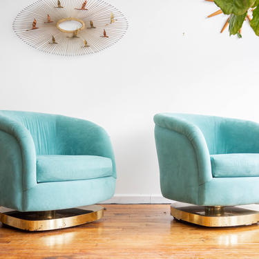 Pair of Milo Baughman Upholstered Swivel Tub Chairs by blinkmodern