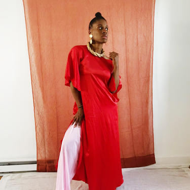 Vintage 1960s 1970s 60s Satin Red Tunic Dress Kaftan Caftan Cover Up Split Party Disco Size Medium to Large by KeepersVintage
