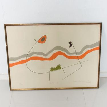 Original Modernist Abstract Lithograph The Waves Les Ondes, Style MIRO by AMBIANIC