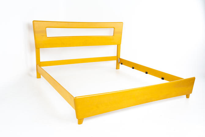 Heywood Wakefield Encore Dogbone Mid Century Blonde King Headboard and Bed Frame - mcm by ModernHill