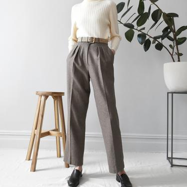 vintage wool high waist trousers, tailored minimal beige pants, size XS / S by ImprovGoods