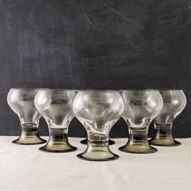 Vintage Rosenthal Studio Line Romus Wine Goblets, Set of 6, Vintage Barware, Footed Glassware, Smoky Base Glasses by PebbleCreekGoods