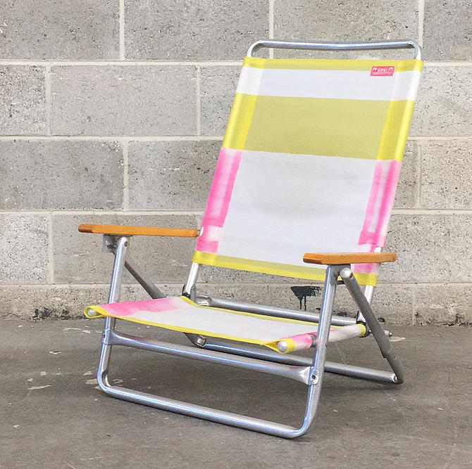 Vintage Beach Chair Retro 1990s Rio + Beach Collection + Aluminum + Metal + Lawn Chair + Neon Colors + Wood Armrests + Folds Up + Summer by RetrospectVintage215
