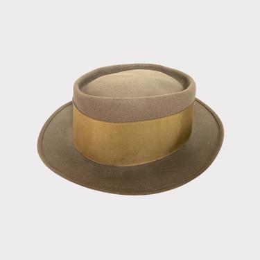 Vintage 1950s KNOX Back Bow Fedora ~ size 7 1/2 ~ Fur Felt Hat ~ Stingy Brim by SparrowsAndWolves