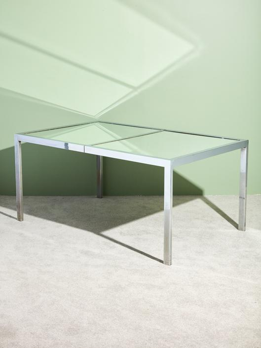 Chrome and Mirror Glass Dining Table