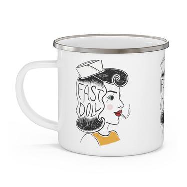 Fast Doll indoor / outdoor white enamel sailor girl coffee or tea mug by FastDoll