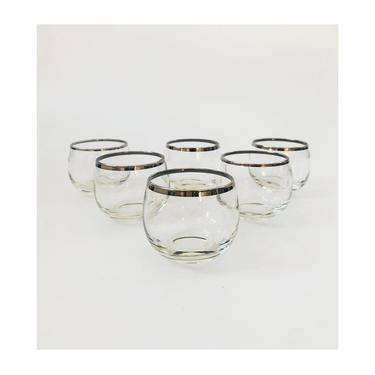 Mid Century Silver Rimmed Roly Poly Cordial Glasses / Set of 6 by SergeantSailor