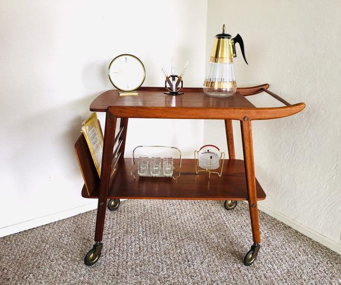 Danish Teak Cart, Danish Modern Teak, Teak Bar Cart, Mid Century Dry Bar, Vintage Serving Cart, Record Player Stand, Mid Century Modern by dadacat