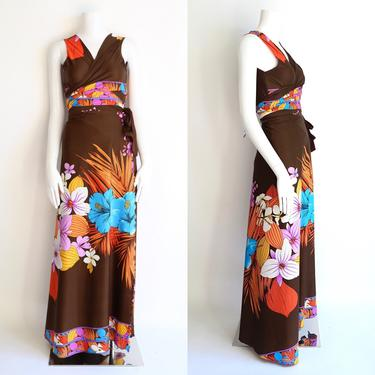 70s wrap dress / vintage 1970s brown tropical floral two piece outfit set wrap around top and wrap skirt lounge pool swimwear bathing suit by ritualvintage