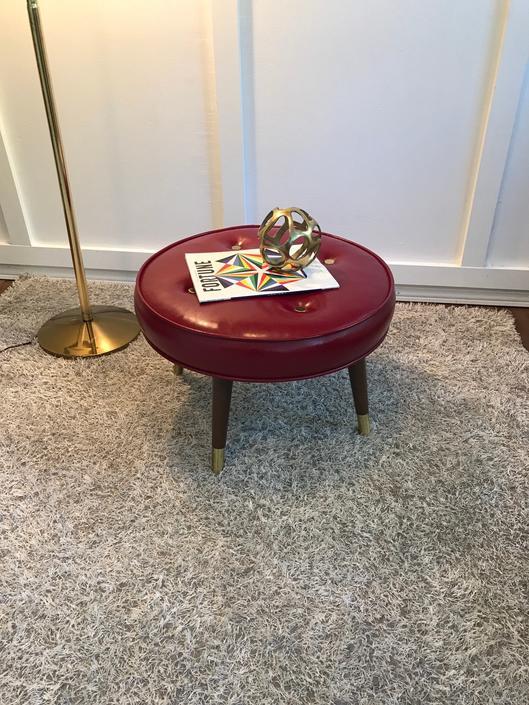 Ottoman Hassock Vintage Mid-Century Modern Round Living-room footrest Footstool stool by VintageCoreReStore
