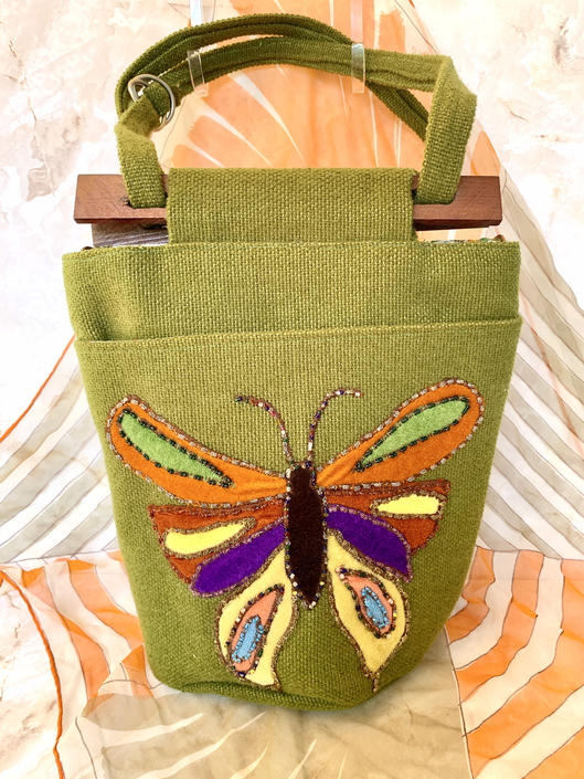 Vintage Bucket Bag Purse, Groovy Butterfly, Mod, Beaded Appliqué, Burlap Fabric, Adjustable Strap, 60s 70s by GabAboutVintage