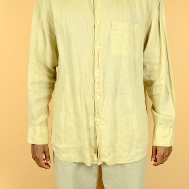 Vintage Cream Linen Long Sleeve Button Down Shirt Beige  Unisex Large XL Oversize by MAWSUPPLY