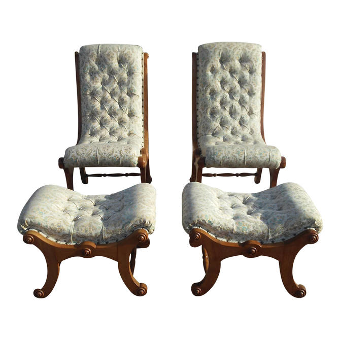 Antique Victorian Carved Wood Upholstered Slipper Accent Chair w/matching Footstools by 3GirlsAntiques