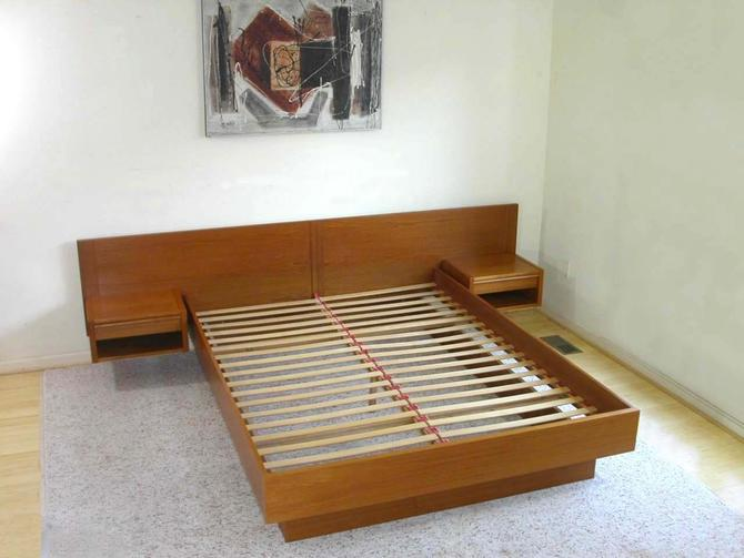 Queen Danish Modern Teak Platform Bed + Attached Floating Nightstands by Jesper