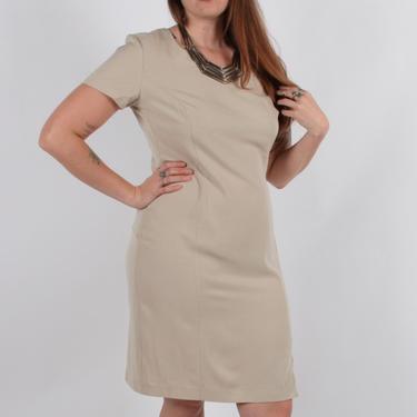 Vintage Cream Beige Simple Business Casual Dress // JENNIFER JAMES size 14 by SonjloVintage