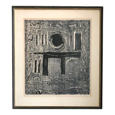 Mid Century Abstract Litho Print 1950's