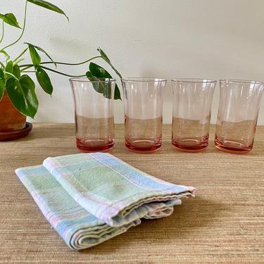 Vintage Pink Glassware - Pink Tumblers - Pink Water Glasses - Flared Pink Glasses - Heavy Base by SoulfulVintage