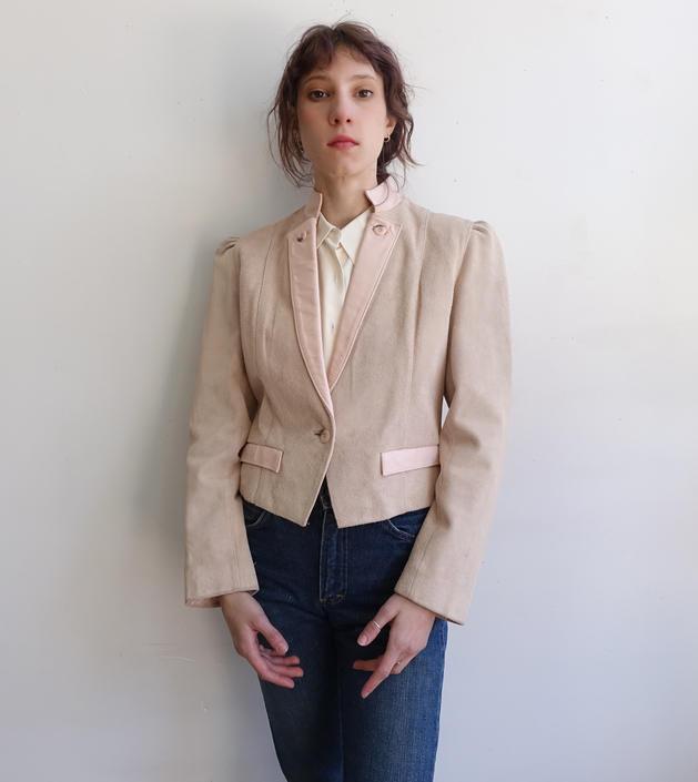 Vintage 80s Suede Wilsons Jacket/ 1980s Pale Pink Leather Biker New Wave Jacket/ Size Medium by bottleofbread