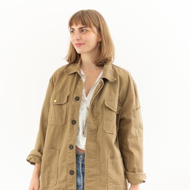 Vintage Tan Khaki Chore Coat   Unisex Utility Work Jacket   Made in Italy   M   IT081 by RAWSONSTUDIO