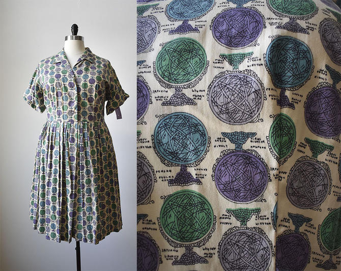 Vintage 1950s Shirt Dress All Over Print Shirt Dress True
