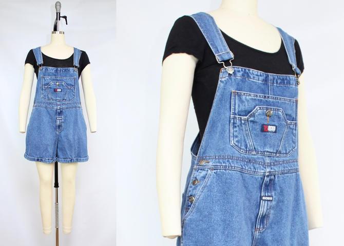 Vintage 90's Blue Denim Shorteralls / 1990's BOSS Athletic Overall Shorts / Summer Overalls / Women's Size Medium by RubyThreadsVintage