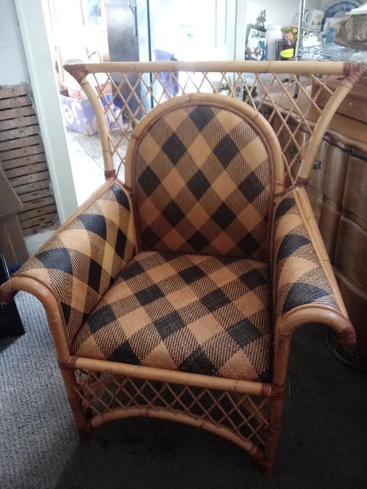 Wicker Chair, Mackenzie Childs Vivaldi Aijro, Vintage, Home Decor by 3GirlsAntiques