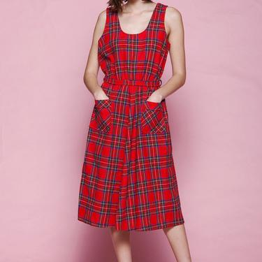 plaid pocket dress red tartan wool belted sleeveless midi vintage 70s MEDIUM LARGE M L by shoprabbithole