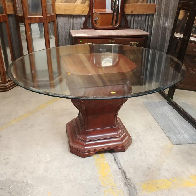 Round Glass Top Dining Table with Pedestal Base