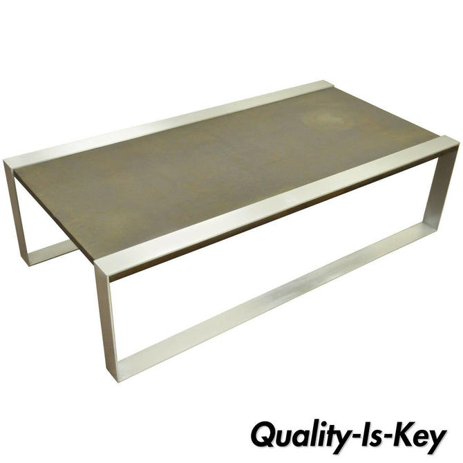 Mid Century Modern Embossed Copper and Brushed Steel Coffee Table after Laverne