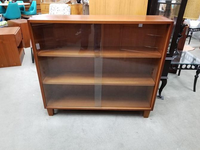 Mid Century Modern Bookcase With Sliding Glass Doors