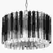 Murano Glass Chandelier with Clear and Smoke Glass Rods 1970s